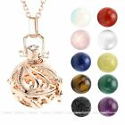 Fashion Women Locket Pendant Fragrance Diffuser Rose Gold Chain Necklace Jewelry