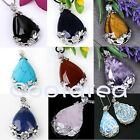 Charm Natural Gemstone Quartz Bead Inlaid Flower Waterdrop Pendant For Necklace