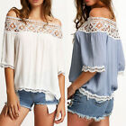 Sexy Fashion Womens Off Shoulder Tops Short Sleeve Casual Blouse Loose T-Shirt R