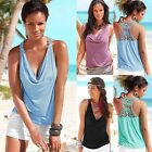 Fashion Women Summer Lace Vest Top Sleeveless Casual Tank Blouse Tops EN24H