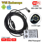 HD 6LED Wifi Inspection Camera IP66 Endoscope Borescope 1/3.5/5M For IOS Android