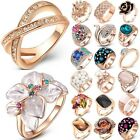 Women Fashion Jewelry  CZ 18K Rose Gold Filled Crystal Ring Wedding Size 6 7 8