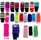 Leg Warmers Neon Plain & Striped Fancy Dress Ladies Girls 80s Fancy Dress