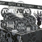 70/70th BIRTHDAY BLACK/SILVER GLITZ Party Range (Birthday/Plates/Napkins/Banner)