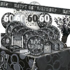 60/60th Birthday BLACK/SILVER GLITZ Party Range (BIRTHDAY/Plates/Napkins/Banner)