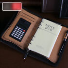 PU Leather Business Organiser Zip Loose-leaf Diary Notebook with Calculator