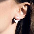 Fashion Women Gold Silver Plated Asymmetric Triangle Ear Studs Earrings Jewelry