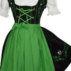 DIRNDL Trachten German Dress EMBROIDERED Oktoberfest 3-Pc SHORT Waitress BLACK