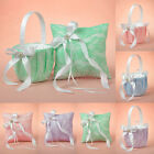 Wedding Satin Crystal Ribbon Bowknot Lace Flower Girl Basket Ring Bearer Pillow