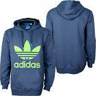ADIDAS ORIGINALS TREFOIL HOODY, MENS SMALL - XLARGE, Grey/lime