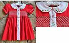 Smocked A Lot Girls Classic Christmas Dress Red Scalloped Collar Tree Santa