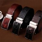 Hot Men's Formal Crocodile Embossed Real Leather Automatic Buckle Waist Belt
