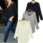Fashion Oversized Women Solid Cotton V Neck Shirt Loose Shirt Tee Top Blouse