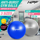 New HPF Gym Yoga Exercise Ball Pilates Swiss Fitness Workout Blue and Silver