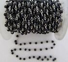 10Feet Black Pearl Beaded Chain Fresh Water Round Pearl Beads Chain-Wire Wrapped