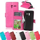 Stylish Leather Stand Wallet Flip Card Holder Soft Rubber Case Cover For Alcatel