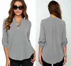 Kyпить New Ladies Grey V Neck Chiffon Top Long Sleeve Loose Casual T Shirt Blouse 8-16 на еВаy.соm
