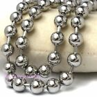 Mens Boy 5mm / 6mm / 8mm Silver Stainless Steel Beads Balls Chain Necklace Gift