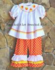 Smocked A Lot Girls Candy Corn Halloween Thanksgiving Orange Ruffled Pants Dress