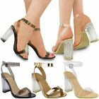Womens Ladies Perspex Block High Heels Clear Sandals Celeb Ankle Strappy Size UK