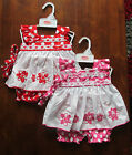 BABY GIRLS SUMMER DRESS SET PINK RED FLOWER FRILLY DRESSES OUTFIT 0-3 3-6 6-9