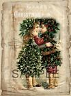 Fabric Art Quilt Blocks  * Vintage Christmas Collage *  14-0375 FREE SHIPPING