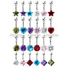 6pc Mix Color Shiny CZ Crystal 14G Steel Barbell Belly Button Rings Body Jewelry