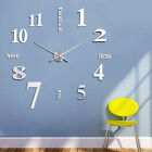 DIY Large Wall Clock Sticker 3D Mirror Big Watch Home Decor Unique Gift New
