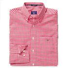 Gant Mens Designer Poplin button Gingham Check Shirt In Red And White