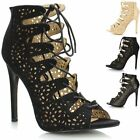 New Ladies Womens Cut Out Lace Up Zip High Heel Strappy Sandals Shoes Ankle Boot