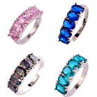 Love Style Jewelry Green Blue Pink Rainbow Topaz Multi-Color Silver Fashion Ring
