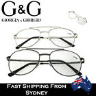 NEW G&G Mens Aviator Style Reading Glasses Spring Loaded Gun Silver +1.0~ +3.5