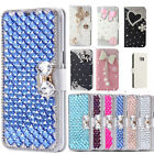 Bling Diamond Crystal Leather Flip Kickstand Wallet Card Case Cover for Samsung
