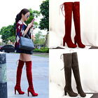 Fashion Over Knee High Heels Boots Lace Up Long High Thigh Block Shoes For Women