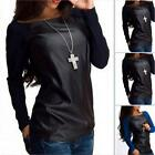Women Ladies Tops Tee Long Sleeve Shirt Casual Blouse Loose Leather T-shirt