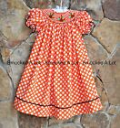 Smocked A Lot Girls Polka Dot Bishop Dress Turkey Thanksgiving Orange Brown Fall