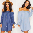Fashion Womens Lady Long Sleeve Jeans Long T shirt Casual Denim Mini Dress