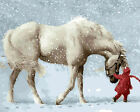 Baby In Red With White Horse In Snowday Beautiful Needlepoint Canvas H146