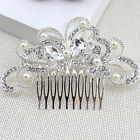 Bridal Wedding Flower Leaf Tassel Crystal Rhinestone Hair Comb Hair Accessories
