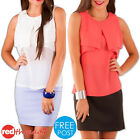 Womens Summer Chiffon Top Loose Sleeveless Tank Work Blouse White Coral Boutique