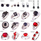 Black Spinel & Pink Tourmaline Rose Red Gems Silver Earrings Ring US Size 6 - 13
