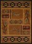 Brown Contemporary Machine Made Cubes Vines Pine Area Rug Checked 750-05053