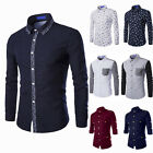 Mens Stylish Fit Shirts Long Sleeve Formal Dress Casual T-shirt Tops Collection
