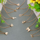 Stylish Pendant Clavicle Necklace With Message Card Women Gold Plated Jewelry
