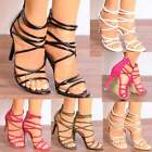LADIES STRAPPY OPEN PEEP TOE STILETTO HIGH HEELS SANDALS PARTY SHOES