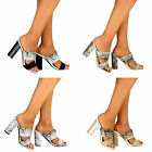 Ladies Mid High Chunky Block Heel Slip On Cut Out Peep Toe Strappy Sandals Shoe