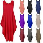 Womens Ladies Baggy Lagenlook Racer Dress Loose Tulip Sleeveless Round Neck