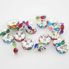 NEW for jewelry 20pcs Size 8MM Plated silver crystal spacer beads mix BZF32
