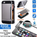 iPhone 6 6S Protective Card Slots Stand Hard Case Cover+Curved Screen Protector