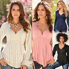 Fashion Women's Loose Cotton lace Tops Long Sleeve Shirt Casual Blouse